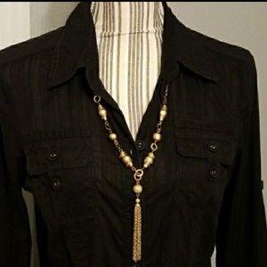 Calvin Klein black button down shirt dress